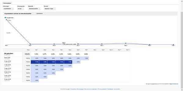 Google Analytics doelgroep Cohortanalyse